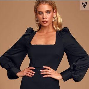 Lulus NWT Black Puff Sleeve Dress